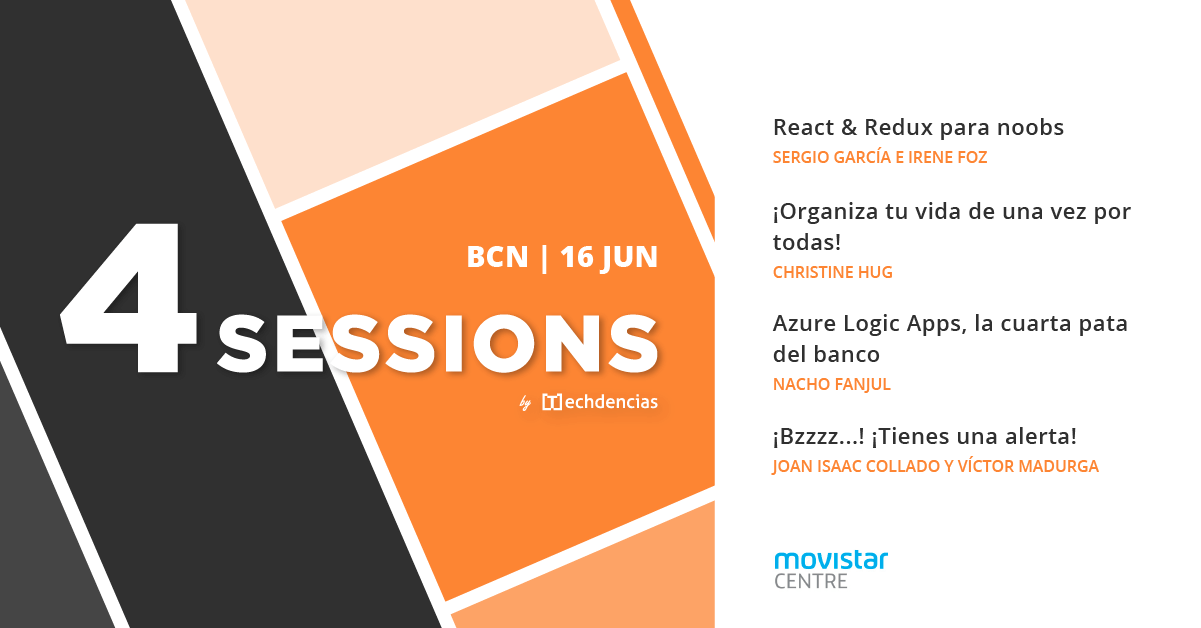 Cartel de las 4Sessions de Techdencias para el 16 de junio de 2018